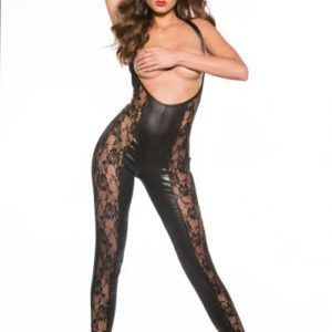 Kitten Lace and Wet Look Catsuit Black O/S