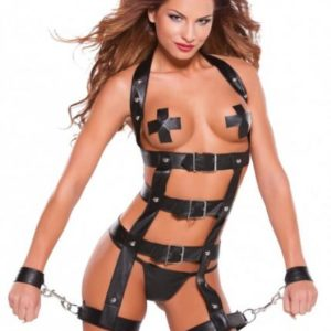 Noir Faux Leather Harness Black O/S