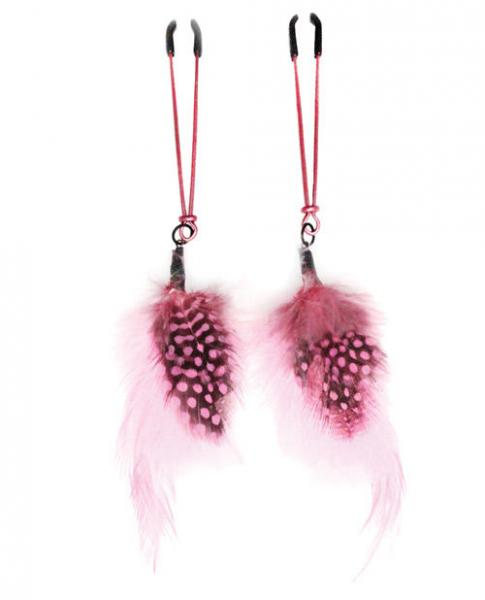 Tweezer Nipple Clamps Pink Feather Color