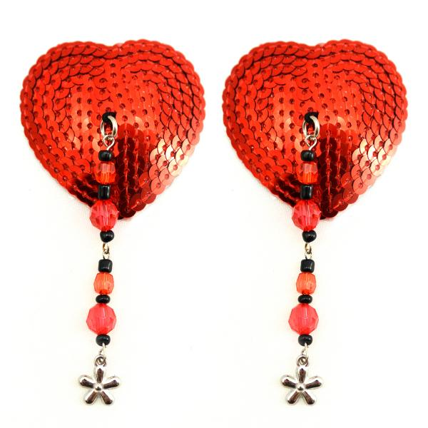 Bijoux Nipple Covers Sequin Heart Beads & Flower