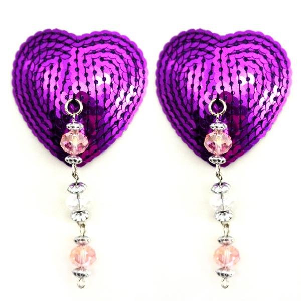 Bijoux Nipple Covers Sequin Heart W/faceted Beads