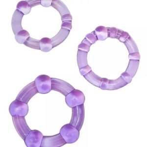 Beaded Elastomer C Rings 3 Pieces Pack - Purple