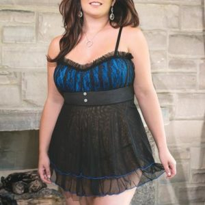 Babydoll G-String Black/Blue 1X/2X