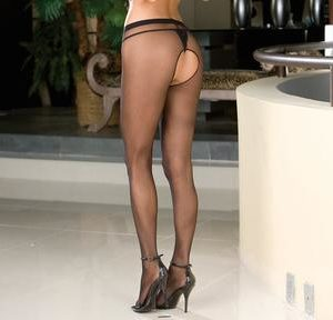 Open Crotch Pantyhose Black O/S
