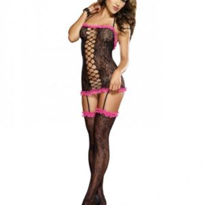 Stretch Lace Halter Garter Dress O/S
