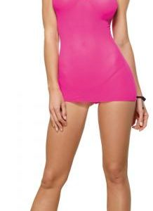 Stretch Mesh Chemise & Thong Hot Pink/Black O/S