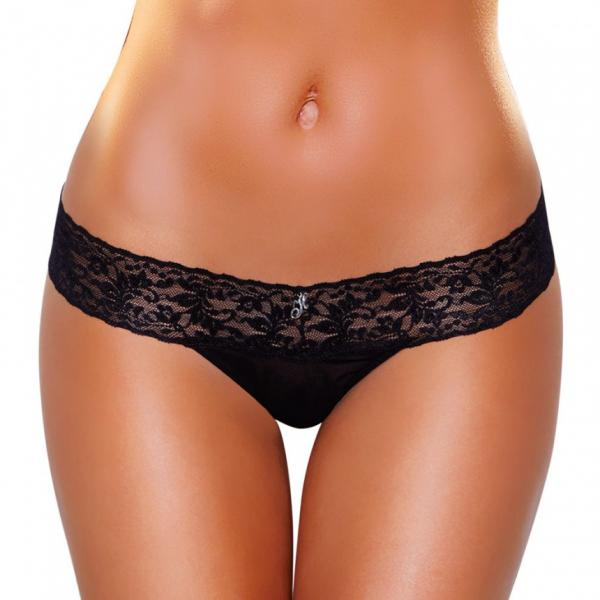 Vibrating Lace Thong Black S/M