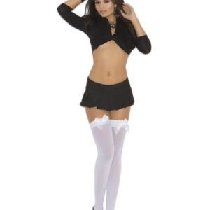 Opaque Thigh Hi W/satin Bow White O/s