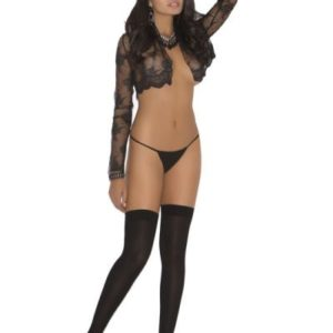 Thi Hi W/bow & Lace Trim Black O/s