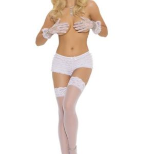 Sheer Lace Top Thigh Hi White Queen Size