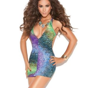 Deep V Halter Mini Dress Multi Color O/S