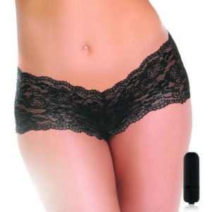 Cheeky Vibrating Panty with Bullet Plus Size Black