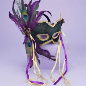 Half Mask Peacock Feather Green O/S