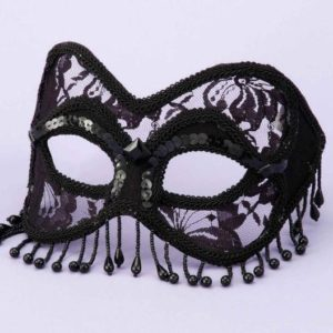 Mask Venetian Black Lace with Beads O/S