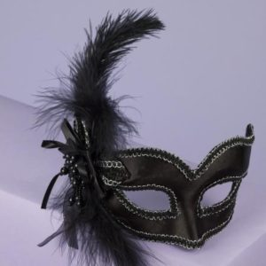 Mask with Glasses Black Satin Feather O/S