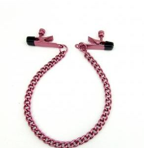 Nipple Clamps Alligator W/Chain Pink