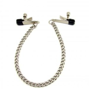 H2H Nipple Clamps Alligator with Chain Chrome