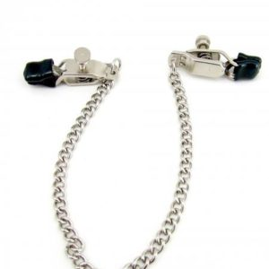 H2H Nipple Clamps Criss Cross with Chain Chrome