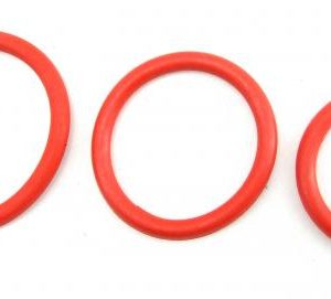 H2H Cock Ring Nitrile 3 Piece Set Red