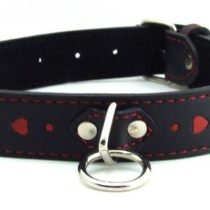 H2H Collar Leather Black with Red Hearts