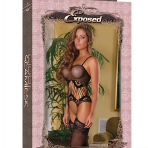 Club Seamless Gartered Catsuit Black O/S