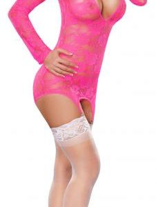 MERRY WIDOW DRESS & G-STRING PINK L/XL (NEON LACE)