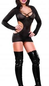 Cut Out Dress and G-String Black Queen