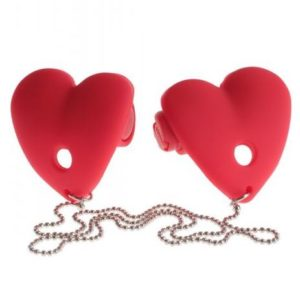 Fetish Fantasy Vibrating Heart Pasties Red