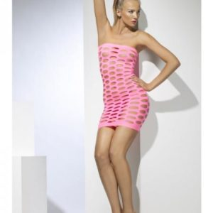 SEAMLESS MINI TUBE DRESS NEON PINK CUT-OUT O/S