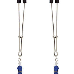 Blue Beaded Nipple Clamps With Tweezer Tip Blue