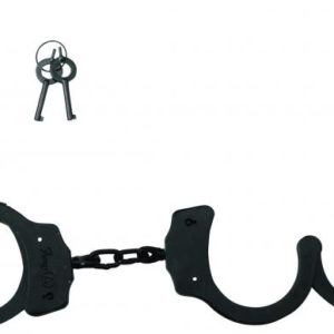 Black Coated Steel Handcuffs With Double Lock - Black