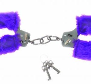 Black Handcuffs W/Purple Fur Line
