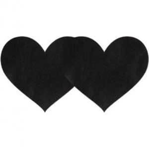 Pasties Black Satin Heart 2 Pack