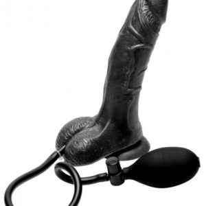Inflatable Suction Cup Dildo - Black